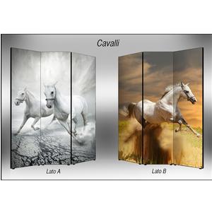 Separé Bifacciale artistico su tela 135x3,2xh176 cm Cavalli in legno multicolore eseguito a mano in Italia
