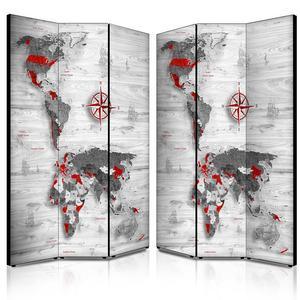 Separé Bifacciale artistico su tela 135x3,2xh176 cm World's map white in legno multicolore eseguito a mano in Italia
