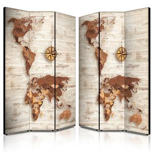 Separé Bifacciale artistico su tela 135x3,2xh176 cm World's map brown in legno multicolore eseguito a mano in Italia