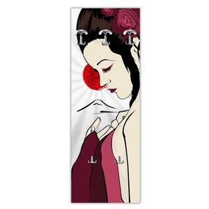 Appendiabiti da parete in Legno 49xh139 cm Geisha Modern decoro eseguito a mano in Italia