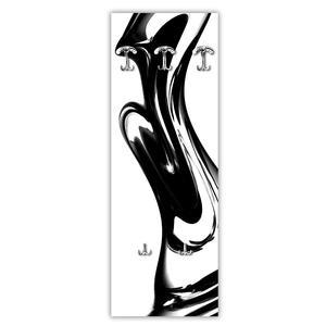 Appendiabiti da parete in Legno 49xh139 cm Modern Black decoro eseguito a mano in Italia