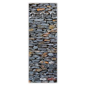 Appendiabiti da parete in Legno 49xh139 cm Muro Pietra decoro eseguito a mano in Italia