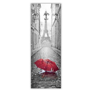 Appendiabiti da parete in Legno 49xh139 cm Umbrella Paris decoro eseguito a mano in Italia