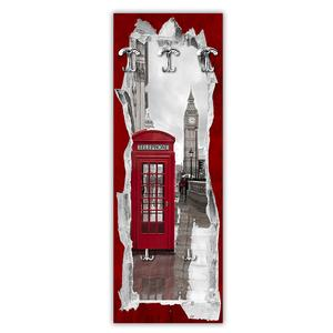 Appendiabiti da parete in Legno 49xh139 cm View Of The Telephone Box decoro eseguito a mano in Italia