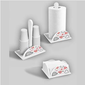 Set 3 pezzi Porta bicchieri, Portatovaglioli, Porta scottex in legno decorato White Hearts