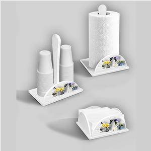 Set 3 pezzi Porta bicchieri, Portatovaglioli, Porta scottex in legno decorato White Gardening