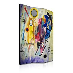 Separé Bifacciale artistico su tela 135x3,2xh176 cm Kandinski Giallo Rosso Blu in legno multicolore eseguito a mano in Italia
