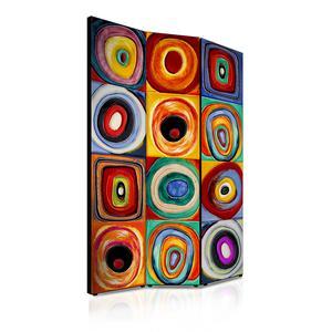 Separé Bifacciale artistico su tela 135x3,2xh176 cm Farbstudie quadrate in legno multicolore eseguito a mano in Italia