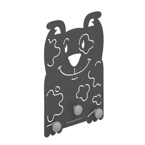 Appendiabiti design da parete maxi Dog in metallo verniciato 28x42x1 cm