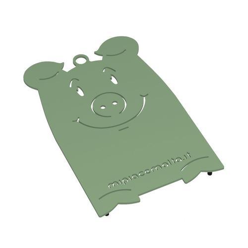 Sottopentola design Pig in metallo verniciato 13x10x2 cm