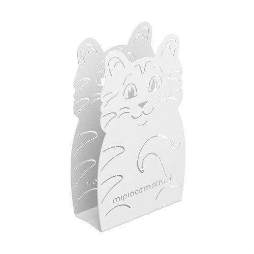 Portatovaglioli da tavola design Cat in metallo verniciato 12x20x5 cm