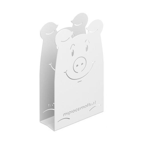 Portatovaglioli da tavola design Pig in metallo verniciato 12x20x5 cm