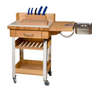 Carrello da cucina a servire 60x50xh88 cm in legno listellare di faggio