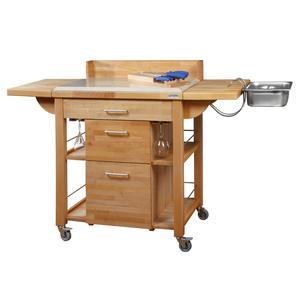 Carrello da cucina a servire 120x80xh120 cm in legno listellare di faggio