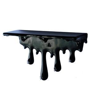 Mensola da Parete SGOCCIOLA 40x15xh25 cm in resina decorata a mano colore nero lucido