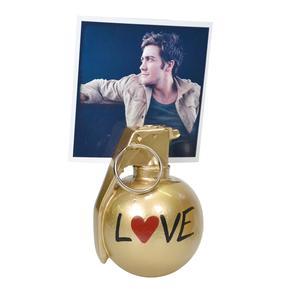 Portafoto granata MK3 in resina 6x7xh9 cm in resina decorata a mano colore oro