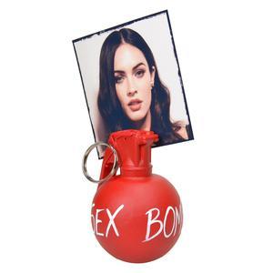 Portafoto granata MK3 in resina 6x7xh9 cm in resina decorata a mano colore rosso