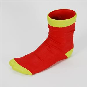Vaso calzino utile anche come porta penne 10x21xh17 cm in resina decorata a mano colore rosso