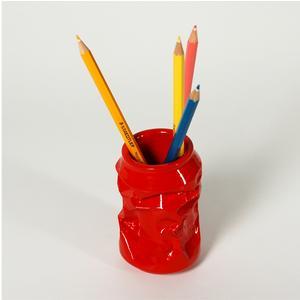 Portaoggetti, Portamatite, Portapenne Lattina 7x7xh10 cm in resina decorata a mano colore rosso
