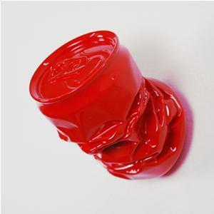 Appendino da parete Lattina 7x9xh7 cm in resina decorata a mano Colore rosso lucido