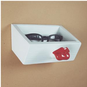 Cassetto Labbra Appendino portaoggetti 18x12xh12 cm in resina decorata a mano colore rosso lucido carico max 3 kg