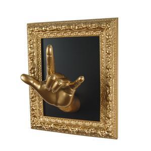 Cornice appendiabiti da parete ROCK 27x18xh32 cm in resina decorata a mano colore ORO
