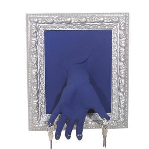 Portachiavi da Parete Cornice 11x27xh33 cm in resina decorata a mano colore Blu e alluminio