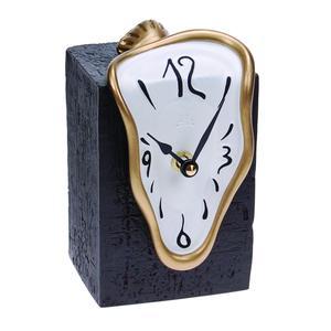 Orologio da Tavolo 15x10xh9 cm in resina colorata a mano e oro bianco