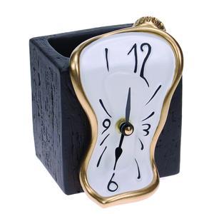 Orologio da Tavolo Portamatite 11x10xh9 cm in resina colorata a mano e oro bianco