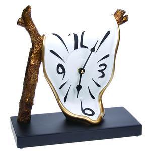 Orologio da Tavolo Ramo 25x24xh11 cm in resina colorata a mano e oro bianco