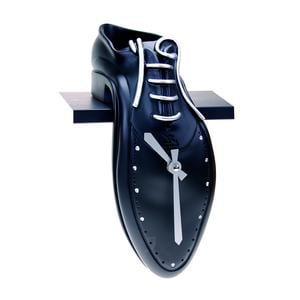 Orologio da Mensola TIP-TAC 11x26xh18cm in resina colorata a mano nero meccanismo al quarzo