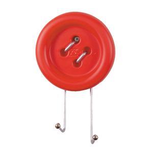 Appendiabiti da Parete Big Button 12x5xh20 cm in Metallo e resina decorata a mano colore rosso