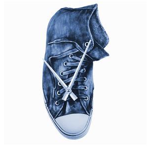 Orologio da Parete White Richie 15x10xh30 cm in resina colorata a mano e blu jeans