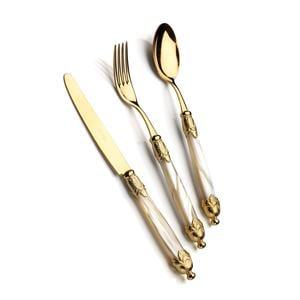 Servizio Posate Colorate Set 24 pezzi 6 posti tavola Siena in acciaio 18/10 manico acrilico madreperlato doppia ghiera dorata finitura Tutto Oro
