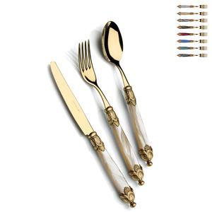Posate Posto un tavola 4 pezzi Siena in acciaio 18/10 manico acrilico madreperlato doppia ghiera dorata finitura Tutto Oro antico