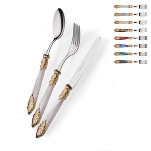 Set Posate Colorate 4 pezzi 1 posto tavola posate Versailles Oro in acciaio 18/10 manico acrilico madreperlato con doppia ghiera dorata finitura Oro inox