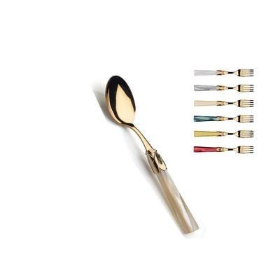 Cucchiaino da caffè sfuso CAPRI Tutto oro in acciaio 18/10 manico in acrilico madreperlato con ghiera dorata finitura tutto oro