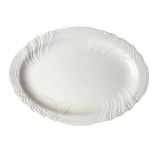 Piatto ovale da portata CONCHIGLIA in porcellana bianca 36 CM lavabile in lavastoviglie