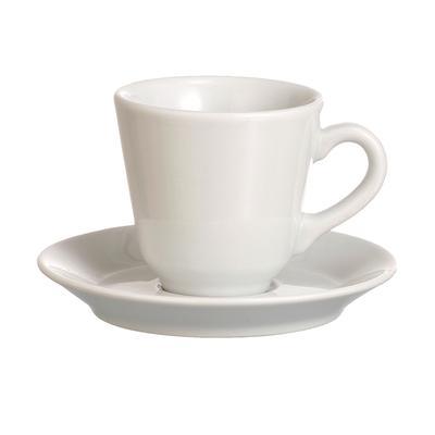 Tazza da Caffè con piattino in Porcellana biancaTRENTO 6,5xh 6 cm - 10 CL confezione 6 pezzi in lavabile in lavastoviglie