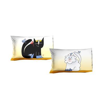 federe per letto singolo 50x80 GATTO INNAMORATO Parure due federe in Puro cotone di alta qualità 100%