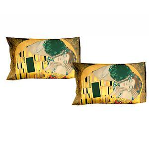 Gruppo 2 federe letto - KLIMT Il Bacio - dimensioni cm. 50x80 - puro cotone di alta qualità- mano morbida - stampa digitale ad altissima risoluzione