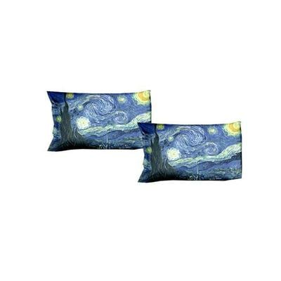 Gruppo 2 federe letto - VAN GOGH-Notte Stellata - dimensioni cm. 50x80 - puro cotone di alta qualità- mano morbida - stampa digitale ad altissima risoluzione