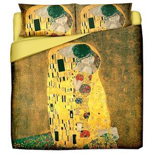 Quilt matrimoniale - KLIMT Il Bacio - dimensioni cm. 250x260 - tessuto in puro cotone di alta qualità- mano morbida - imbottitura di ovatta anallergica 100% poliestere da Gr. 100 al mq. - stampa digitale ad altissima risoluzione