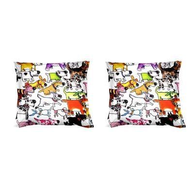 Federe per cuscini arredo 40x40 CANI STRANI Parure due federe in Puro cotone di alta qualità 100%