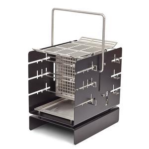 Silo Grill Barbecue A4 nero, 30x21xh31cm, in acciaio AISI 304, compatto e trasportabile, adatto per grigliate fino a 8 persone