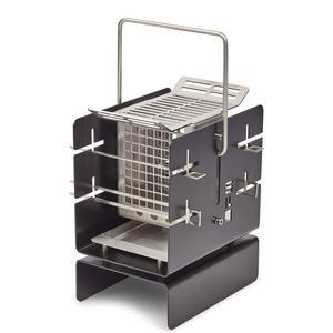 Silo Grill Barbecue A5 nero, 21x15xh25cm, in acciaio AISI 304, compatto e trasportabile, adatto per grigliate fino a 4 persone
