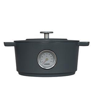 Casseruola Ovale in ghisa con termometro e coperchio Ø 24 cm Combekk colore grigio cemento