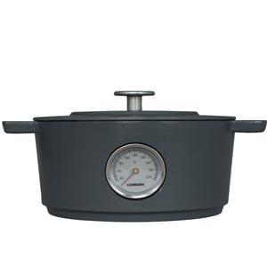 Casseruola Ovale in ghisa con termometro e coperchio Ø 28 cm Combekk colore grigio cemento