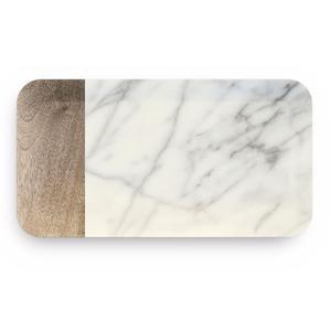 Vassoio rettangolare in melamina Piccolo Carrara 22x13 cm certificato per l'uso alimentare avorio