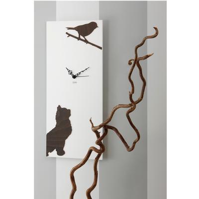 Orologio da parete in Legno con intarsi in legno L'ATTESA 55x25xh3 cm tagliato al laser colore bianco legno